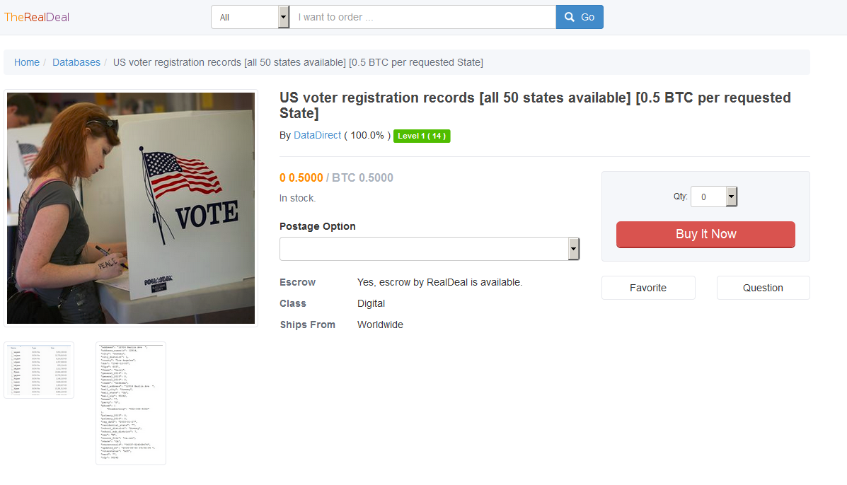 U.S. Voter Registration Database for Sale